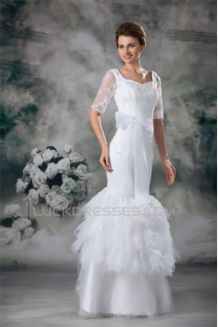 Half Elbow Sleeve Square Satin Lace Fine Netting Trumpet/Mermaid Wedding Dresses 2031220