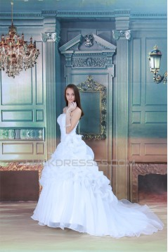 Hot Sale Strapless A-Line Satin Sleeveless New Arrival Wedding Dresses 2031223