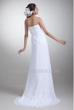 Latest Design Chiffon Satin Sweetheart Sheath/Column Beaded Wedding Dresses 2031228