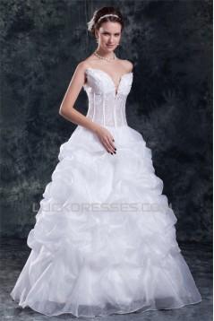 New Arrival V-Neck Ball Gown Satin Organza Sleeveless Wedding Dresses 2031255
