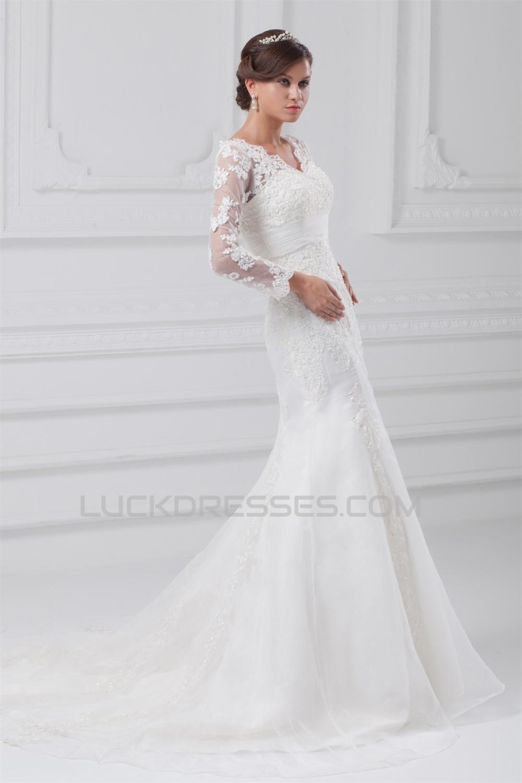 Satin lace organza long sleeve mermaid trumpet wedding for Organza trumpet wedding dress