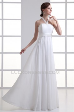 Sheath/Column Chiffon Elastic Woven Satin Halter Wedding Dresses 2031306