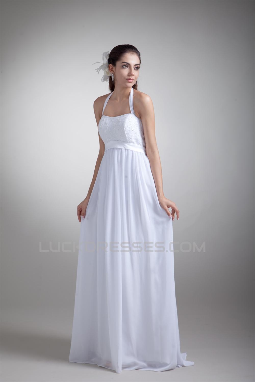 Sheath/Column Halter Sleeveless Chiffon Lace Wedding Dresses ...