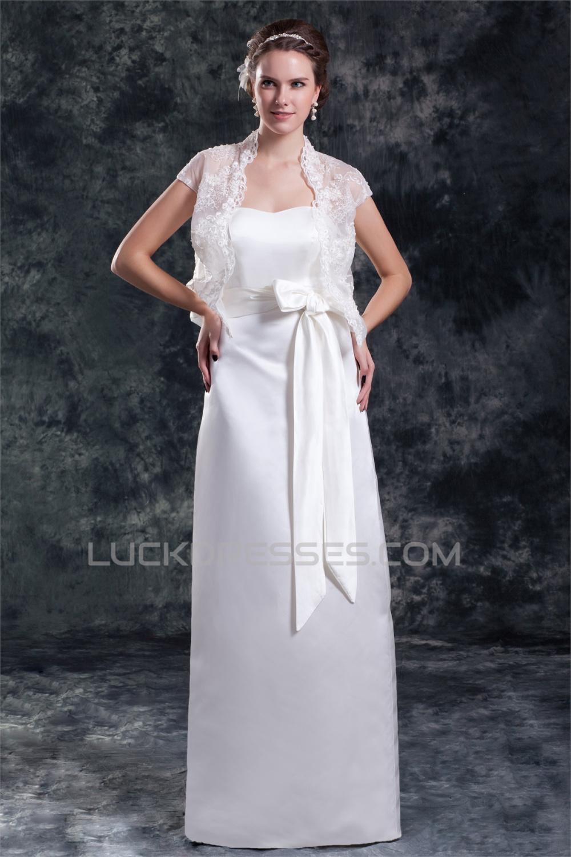 Sleeveless Satin Sheath Column Sweetheart Wedding Dresses