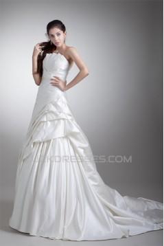 Sleeveless Satin Strapless A-Line Beautiful Wedding Dresses 2031336