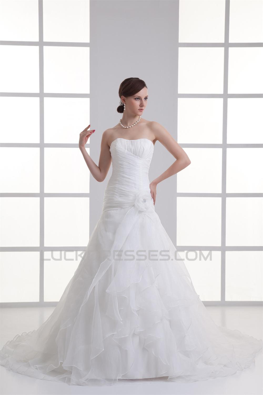 Soft Sweetheart Ball Gown Satin Organza Wedding Dresses 2031345