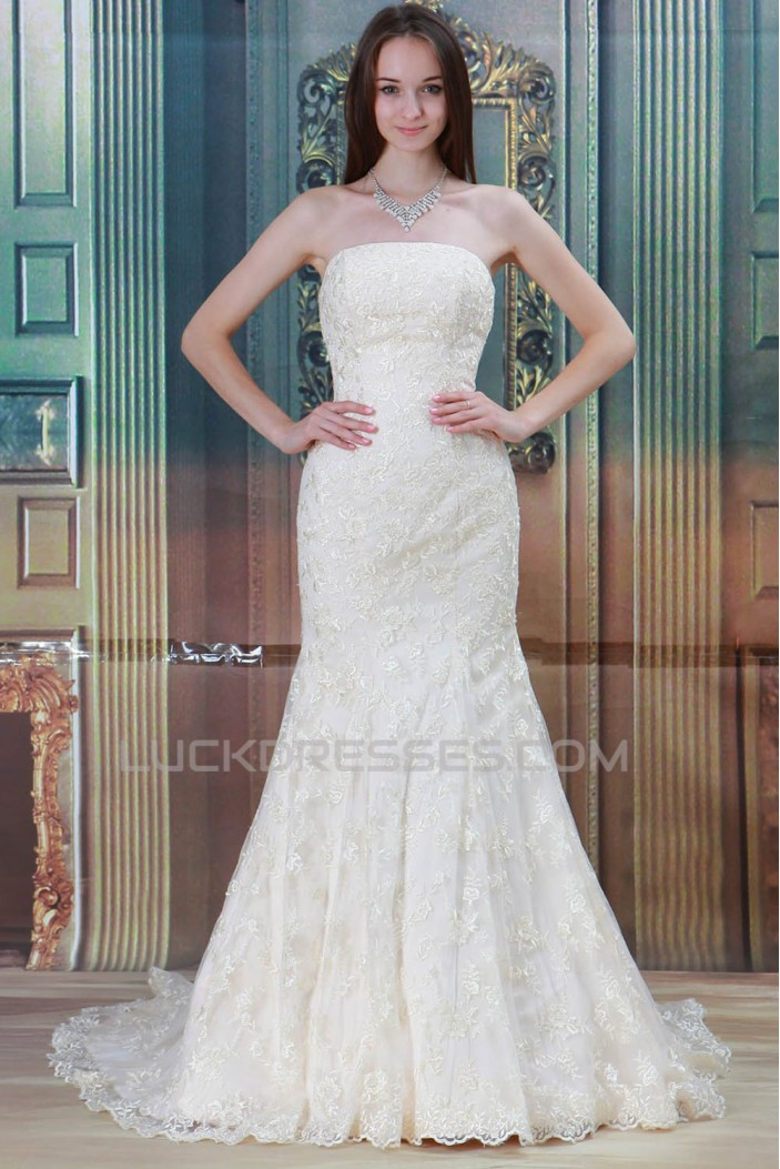 Strapless Satin Lace Mermaid/Trumpet New Arrival Wedding Dresses 2031352