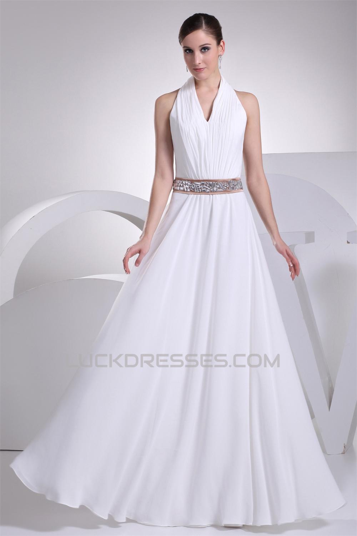 be9802d1306 A-Line Halter Beaded Chiffon Sleeveless Wedding Dresses 2030136