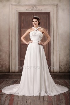 Straps Chiffon Elastic Woven Satin A-Line New Arrival Wedding Dresses 2031374