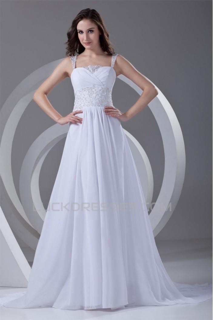 Straps Chiffon Satin Sleeveless Sheath/Column Beaded Beautiful Wedding Dresses 2031375