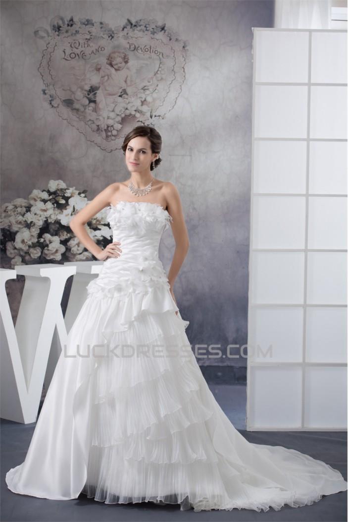 A-Line Strapless Chapel Train Wedding Dresses 2030138