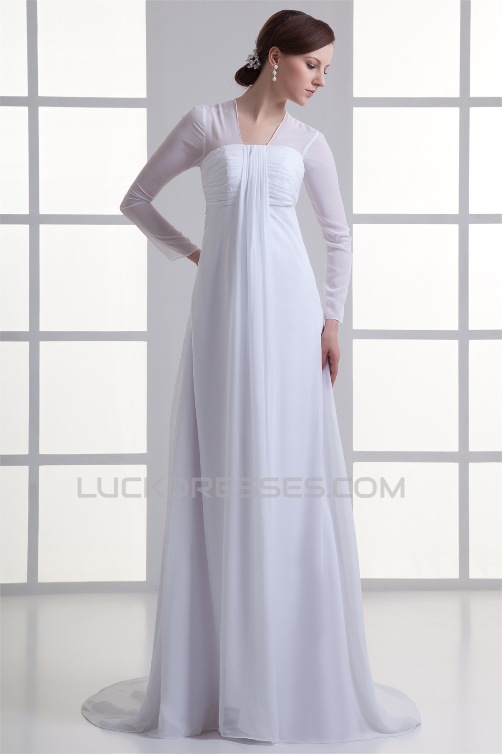 Empire v neck chiffon long sleeve sheath column wedding for Long sleeve chiffon wedding dress