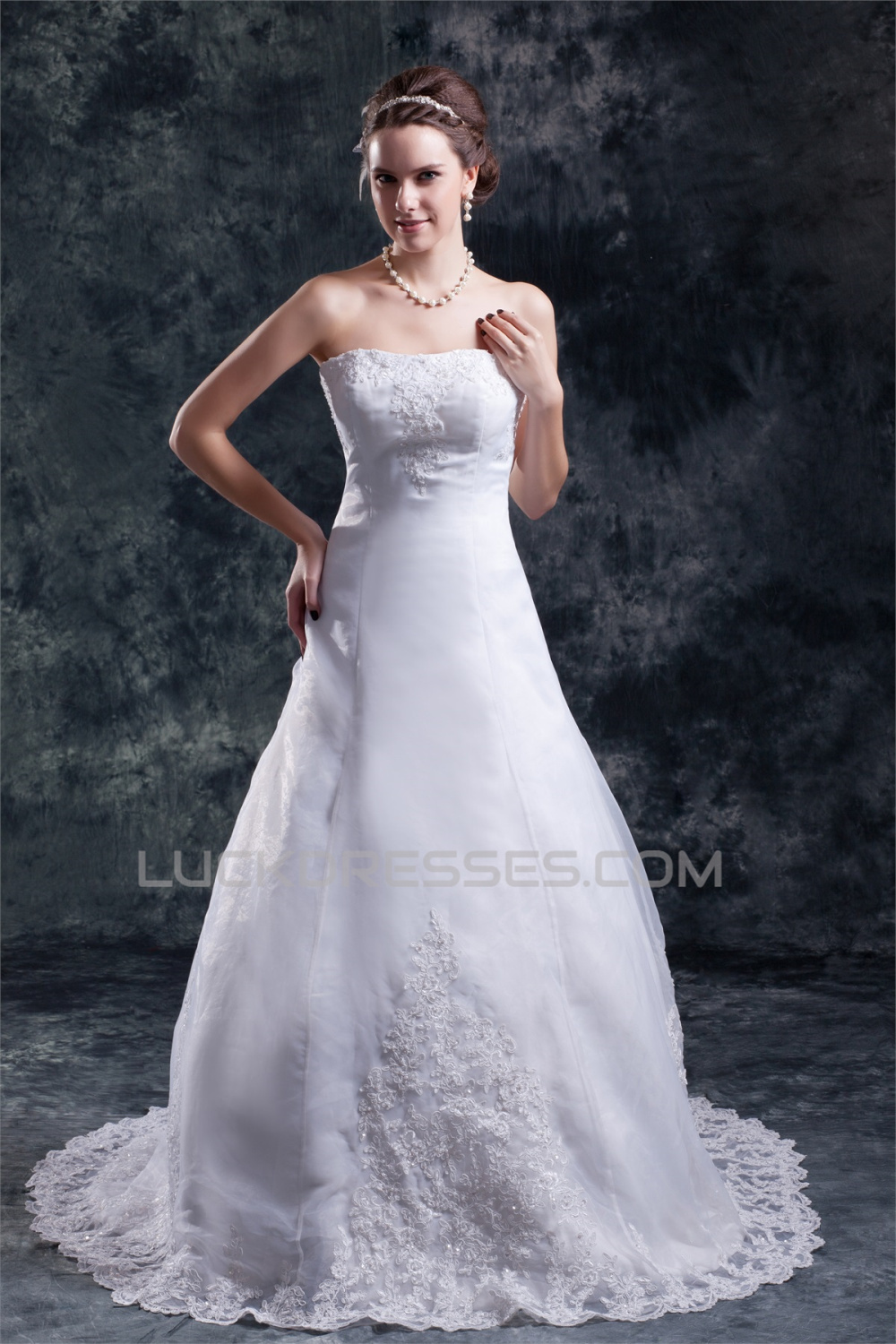 Wholesale A-Line Sleeveless Strapless Satin Organza Wedding Dresses ...