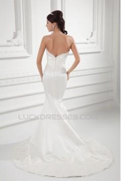 Wholesale Sweetheart Satin Sleeveless Mermaid/Trumpet Lace Wedding Dresses 2031421