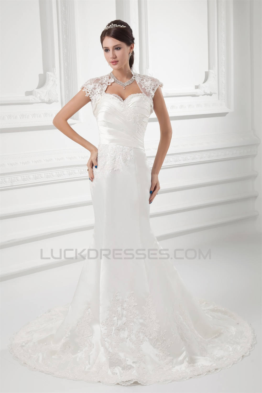 Wholesale Wedding Dresses.Wholesale Sweetheart Satin Sleeveless Mermaid Trumpet Lace Wedding Dresses 2031421