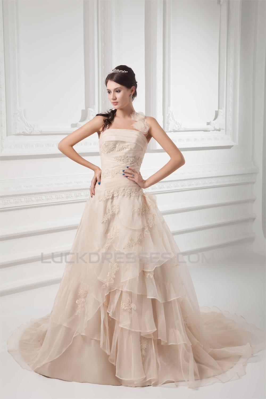 Wonderful Halter Ball Gown Sleeveless Satin Organza Wedding Dresses