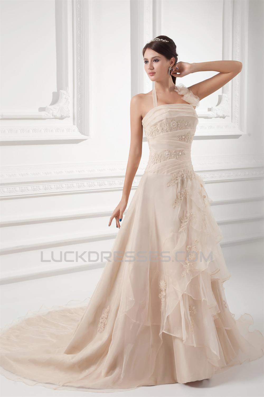 a4dddb45ae52 Wonderful Halter Ball Gown Sleeveless Satin Organza Wedding Dresses 2031428