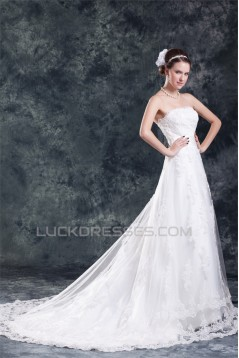 Wonderful Strapless A-Line Sleeveless Satin Net Wedding Dresses 2031432