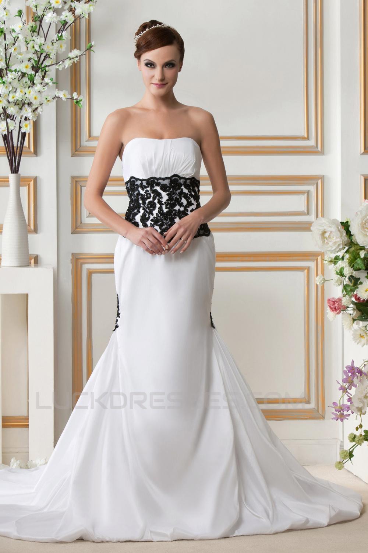 Trumpet mermaid strapless court train black white wedding for Mermaid strapless wedding dress