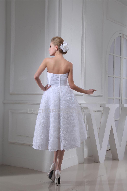 A line soft sweetheart tea length reception wedding for Sweetheart tea length wedding dress