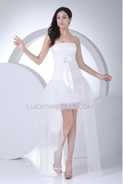 Asymmetrical Sleeveless A-Line Strapless Lace Tulle Reception Wedding Dresses 2031479