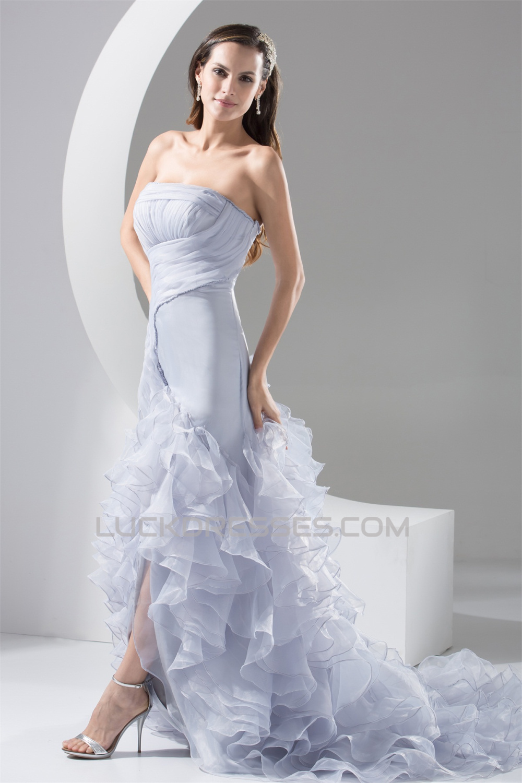 Fashionable Organza Silk Like Satin Strapless Princess