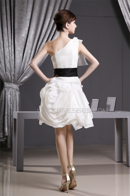 Elegant a line short mini draped one shoulder reception for Short mini wedding dresses