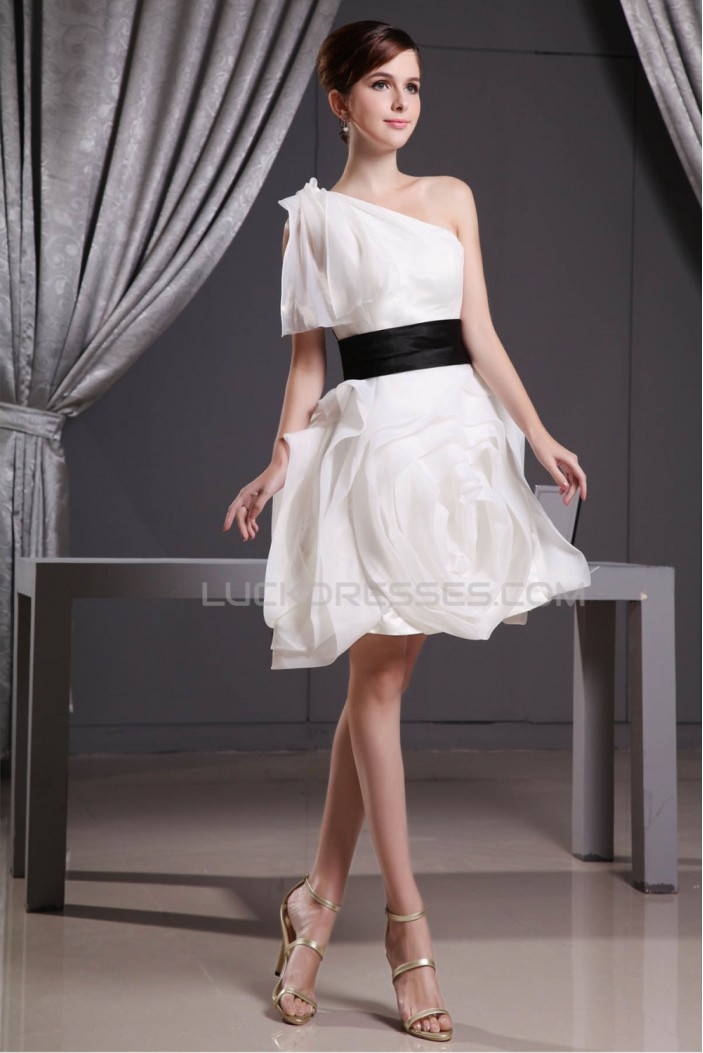 Elegant a line short mini draped one shoulder reception for Short elegant wedding dresses