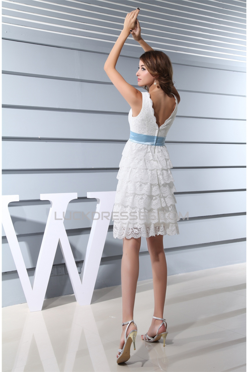 Hot Sale V-Neck A-Line Satin Lace Knee-Length Little White Dresses ...