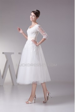Satin Lace Fine Netting Scoop A-Line 3/4 Length Sleeve Little White Wedding Dresses 2031498