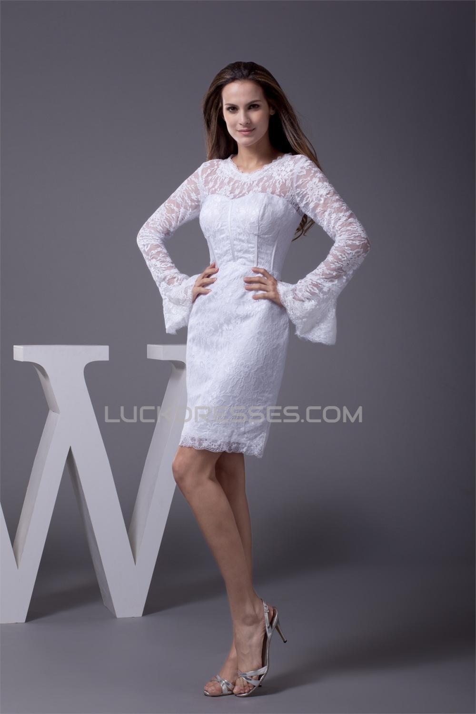 Satin lace short mini scoop sheath column long sleeve for Short mini wedding dresses