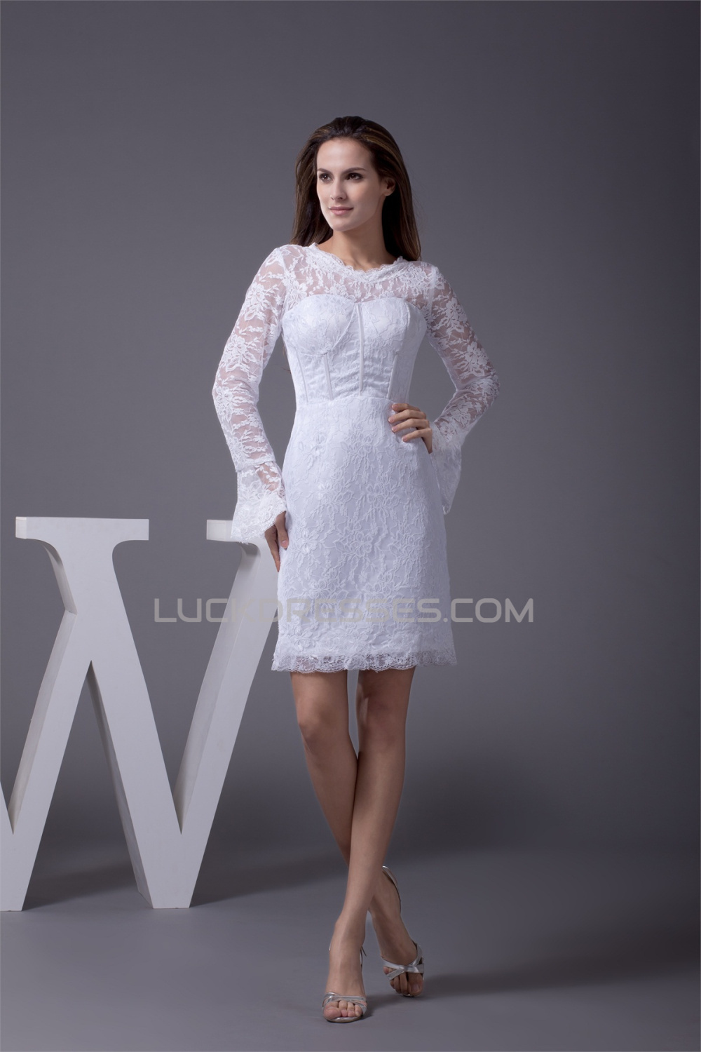 Satin lace short mini scoop sheath column long sleeve for Short long sleeved wedding dresses
