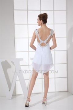 Sheath/Column Sleeveless Beaded Chiffon Short Wedding Dresses 2031505
