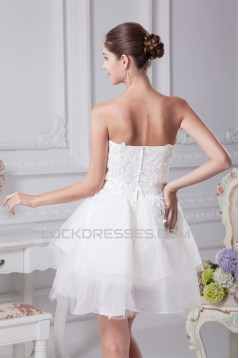 A-Line Satin Fine Netting Strapless Lace Short Reception Wedding Dresses 2031507