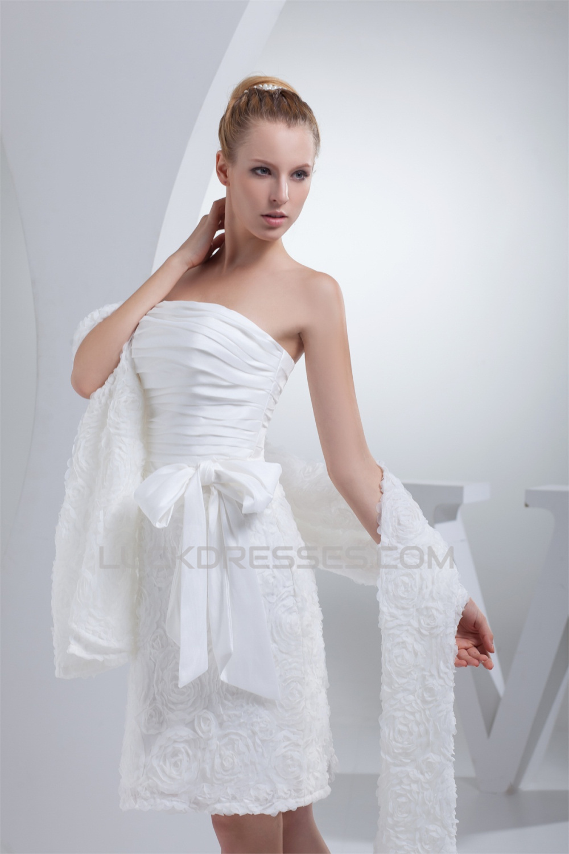 Line strapless short knee length reception wedding dresses with a line strapless short knee length reception wedding dresses with shawl 2031508 ombrellifo Choice Image