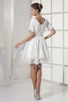 A-Line Short Sleeve V-Neck  Taffeta Lace Short Reception Wedding Dresses 2031517