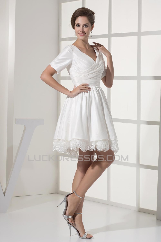 A Line Short Sleeve V Neck Taffeta Lace Short Reception