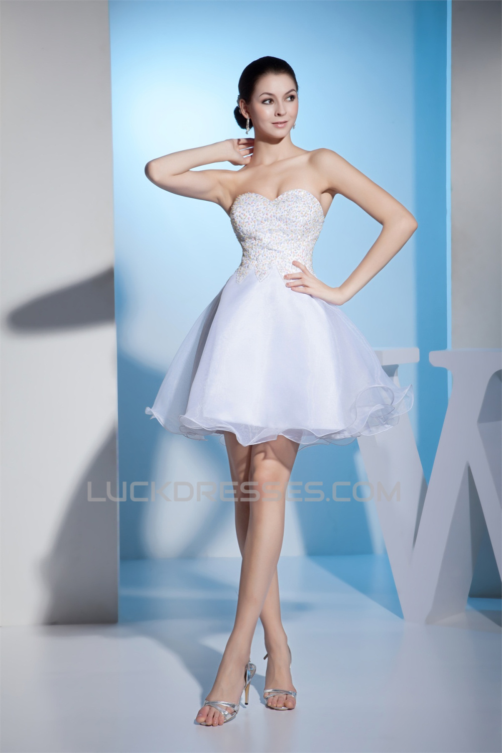 Wonderful Satin Organza A-Line Sleeveless Sweetheart Short Wedding ...