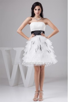 A-Line Strapless Satin Fine Netting Short Wedding Dresses 2031533