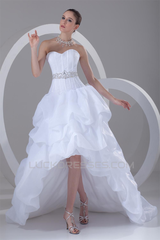 A-Line Satin Organza Sweetheart Embellished High Low Wedding Dresses ...