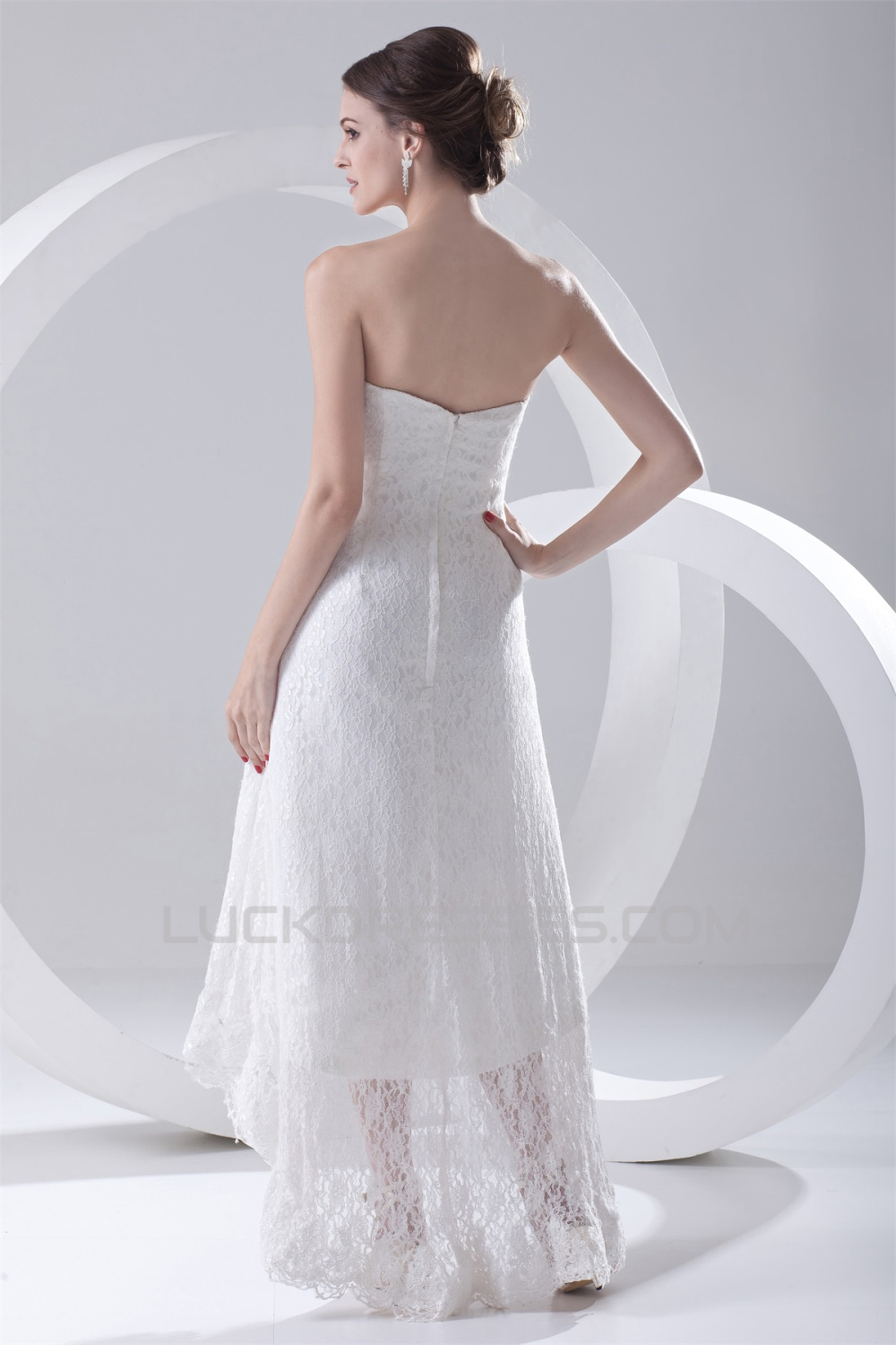 A Line Soft Sweetheart Satin Lace Sleeveless High Low
