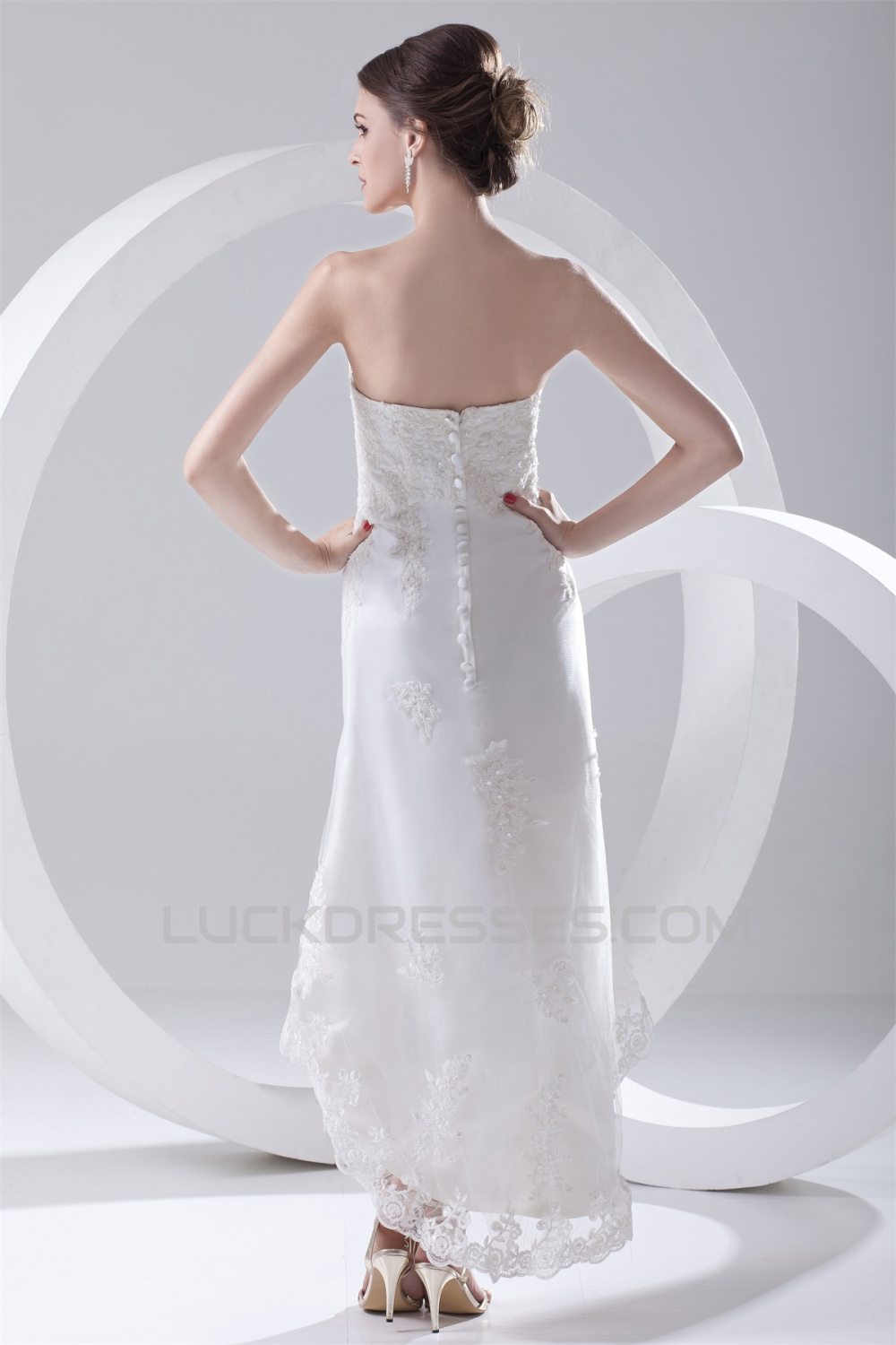 Satin lace a line soft sweetheart reception high low for High low sweetheart wedding dress