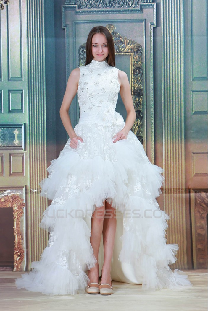 Sleeveless A-Line Satin Lace Ruffled Fine Netting High Low Reception Wedding Dresses 2031545