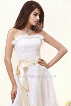 Wonderful Strapless Satin Lace Sleeveless A-Line Knee-Length Short Wedding Dresses 2031550