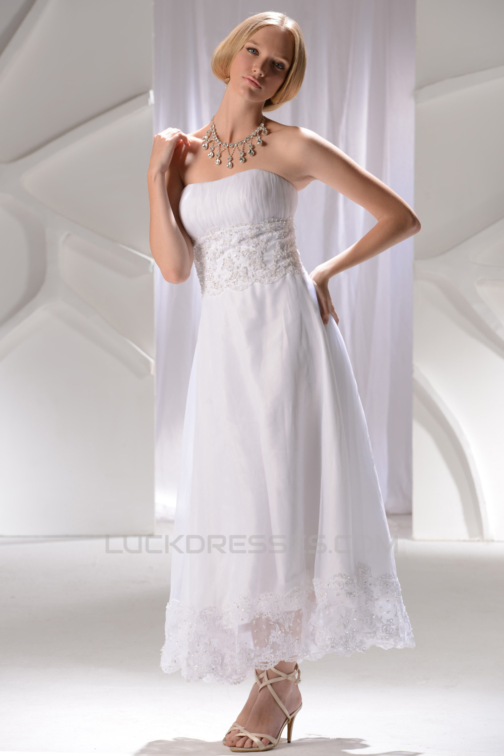 Wonderful Strapless Satin Lace A-Line Ankle-Length Wedding Dresses ...