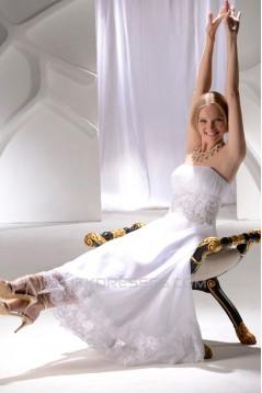 Wonderful Strapless Satin Lace A-Line Ankle-Length Wedding Dresses 2031552