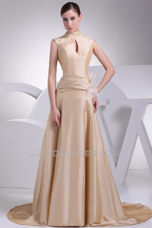 A Line High Neck Bows Wedding Dresses 2030173
