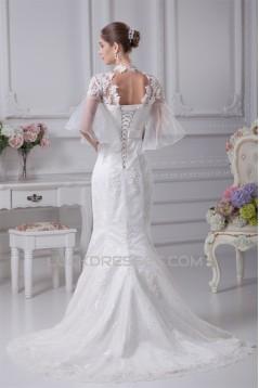 High-Neck Mermaid/Trumpet Half Elbow Sleeve Most Beautiful Wedding Dresses 2030174