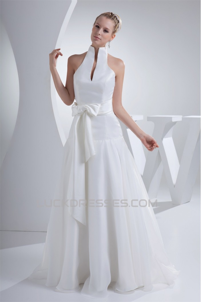 High Neck Sleeveless A Line Sweet Wedding Dresses 2030176