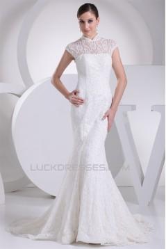 Trumpet/Mermaid High-Neck Sleeveless Lace Wedding Dresses 2030177